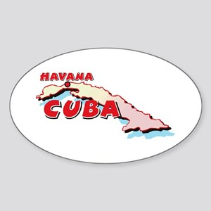 Cuba Map Oval Sticker